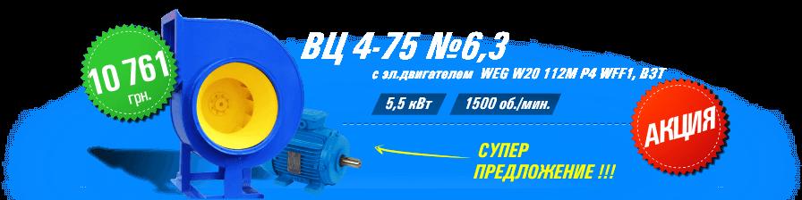 ВЦ 4-75 №6,3 с эл.двигателем WEG W20 112M P4 5,5 кВт 1500 об./мин